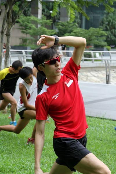Demonstrating the exercises for the participants.