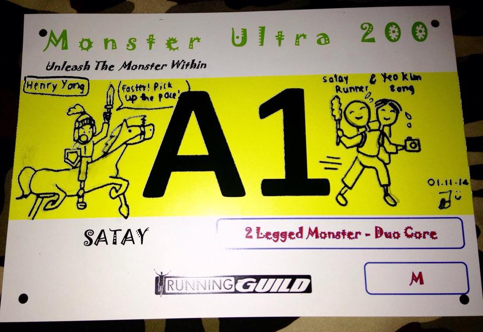 Satay's race bib, designed for him by his daughter, Joy.
