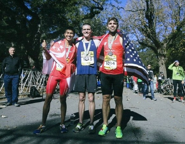 New Orleans Rock 'n' Roll Marathon 2015 - Top 3 winners with country flags