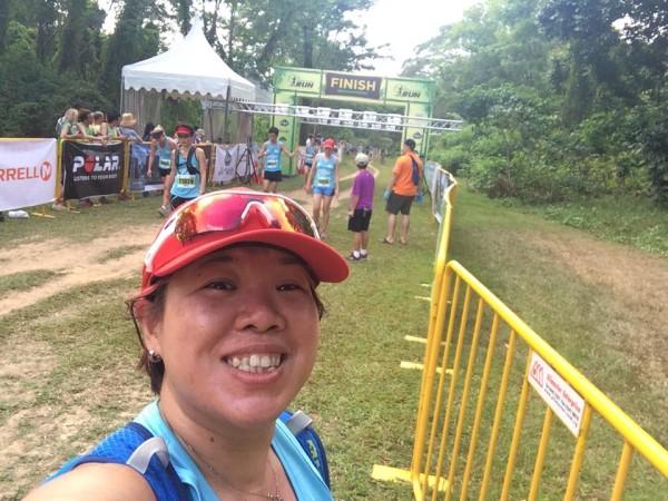 Cindy Loo at the finishing line of The Green Corridor Run 2015. (Photo: Cindy Loo)