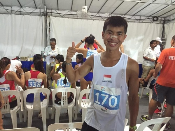 Ashley Liew just before the marathon starts. Photo by: Family Health Chiropractic Clinic Singapore