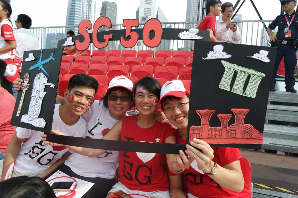 Zhi Wen and her guests at the NDP.