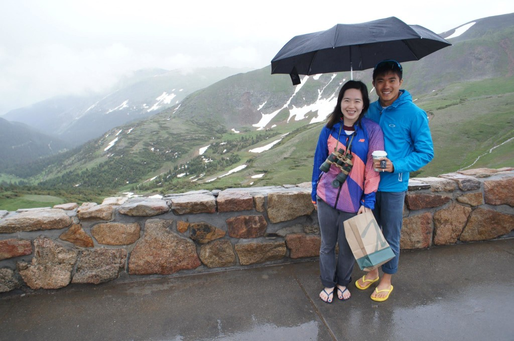 Mok and his fiancee, Belinda Ooi, on a rainy day in Colorado. Photo by Belinda Ooi.