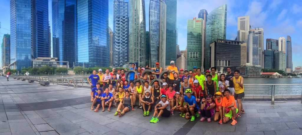 Stopping for a group photo at Marina Bay. [Photo: Facebook/David Tan]