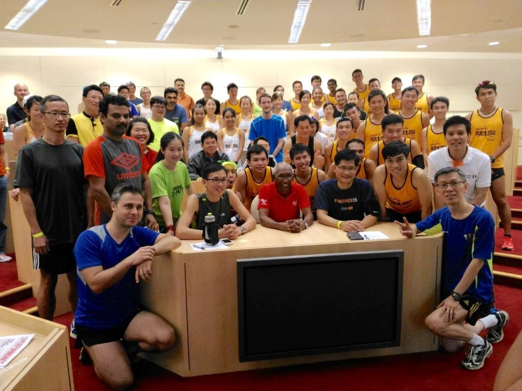 Kunalan gave a talk for RUN350 runners. [Photo from RUN350]