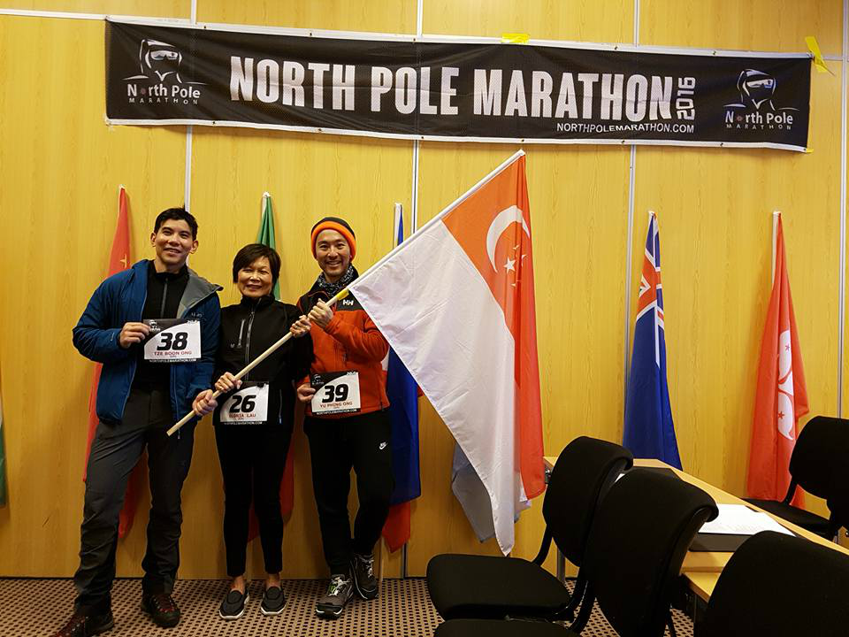 Running at the North Pole has its memorable moments for Gloria and her fellow Singaporean runners.