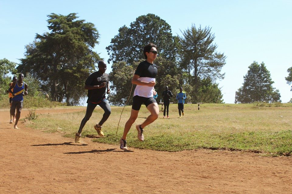 Soh training hard with the Kenyans.