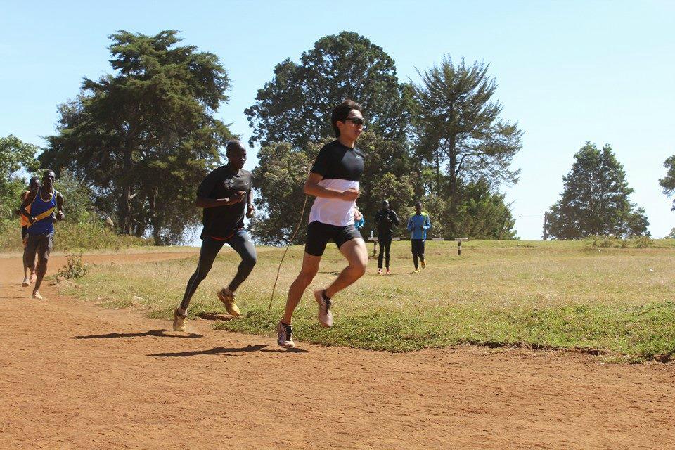 Soh training hard with the Kenyans.