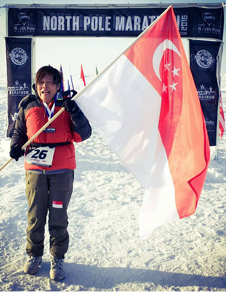 Gloria Lau completes the North Pole Marathon.