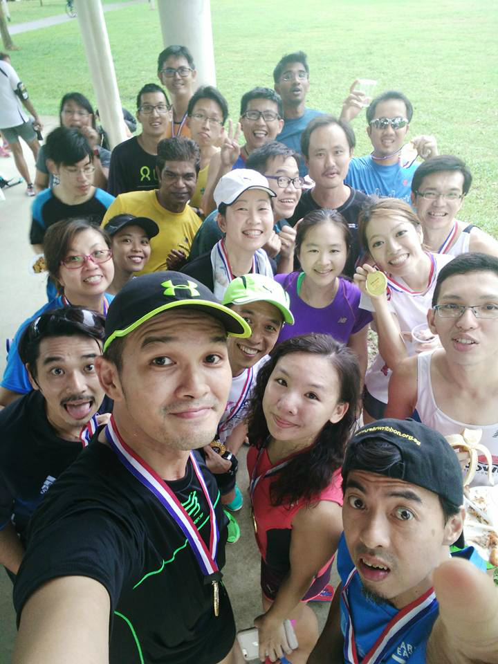 Runners gather for a wefie after the run. [Photo by David Tan]