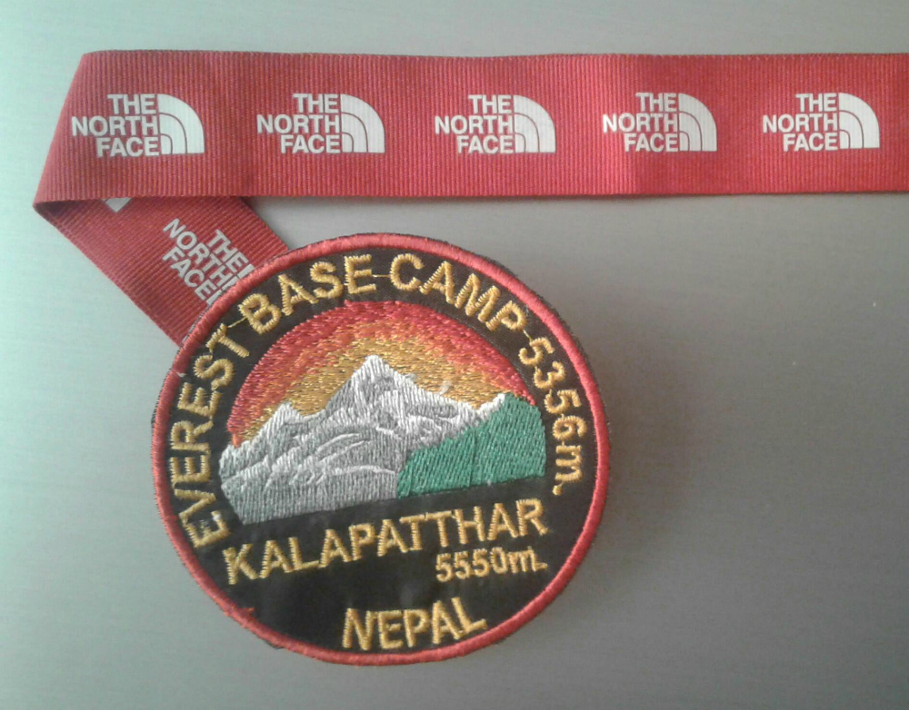"Shariff's home made ""medal"" for reaching the Everest base camp."
