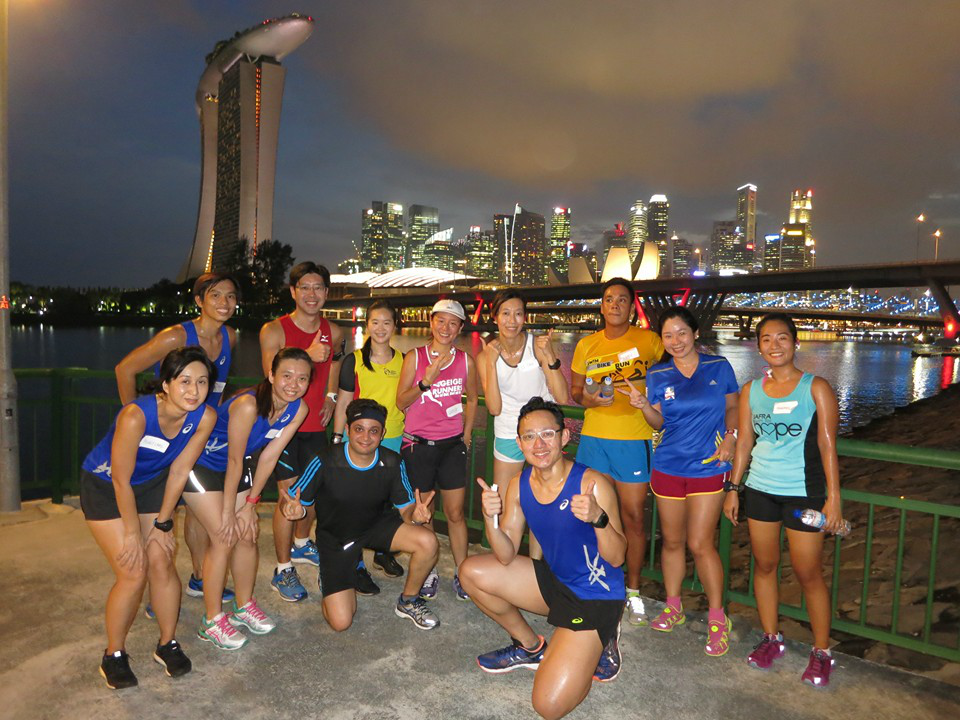 Our group of runners at the ASICS Beat the Sun Singapore Challenge.