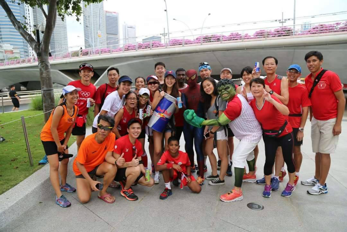 Gei Gei Runners with the Red Bull promoters. [Photo credit - Marshall Wan]