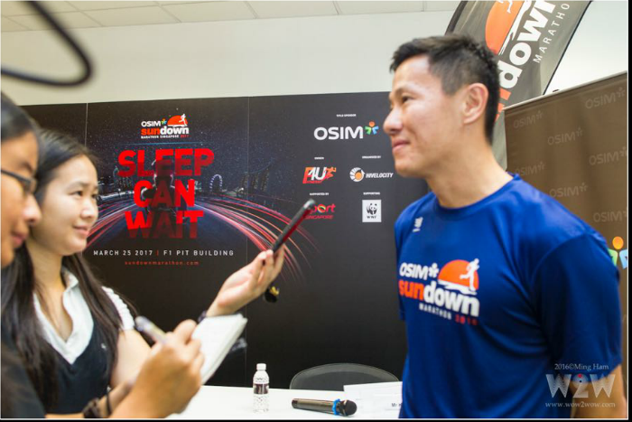 Interviewing Adrian Mok after the press conference. [Photo credit to Ming Ham]