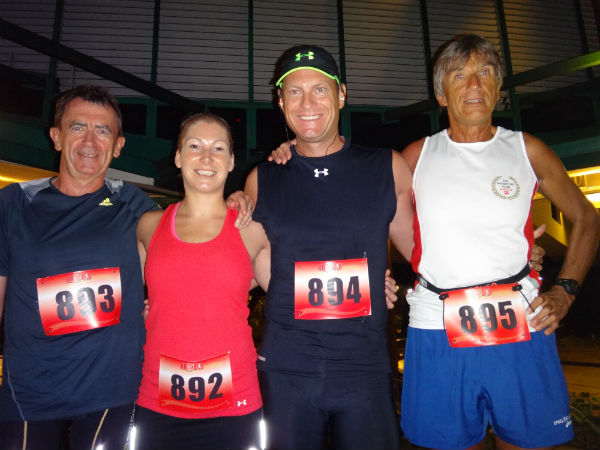 Anton and three other runners from his cruise ship.