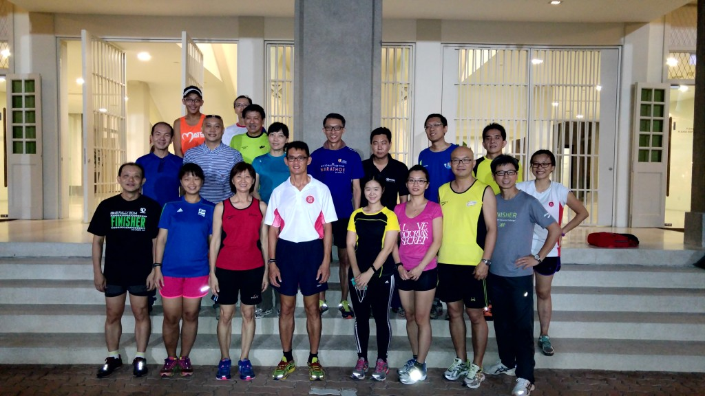 The group at a running clinic with Yong Yuen Cheng, organised by People's Association.