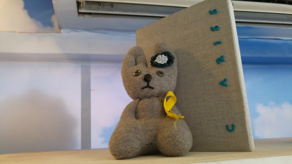 This soft toy was made by an an inmate from Changi Women's Prison.