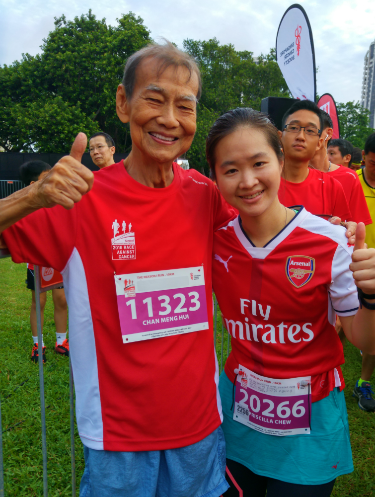 I bumped into Uncle Chan Meng Hui, one of Singapore's most inspirational running figures. It was heartwarming to see him showing support for this cause too.