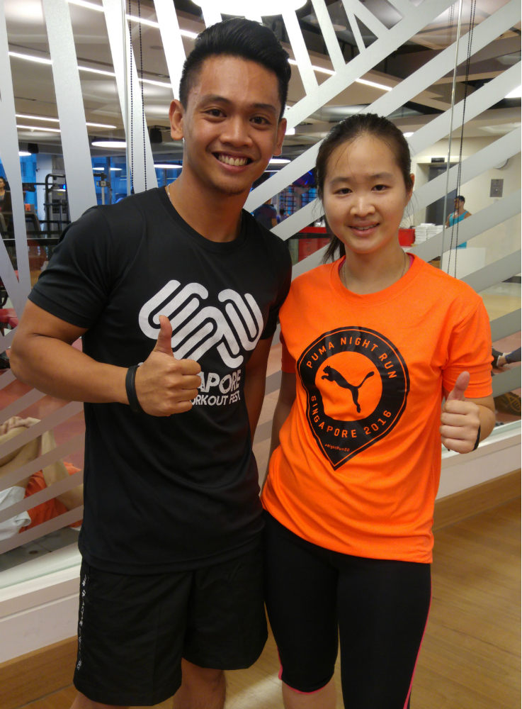 With Adi, fitness trainer at Virgin Active Gym Singapore.