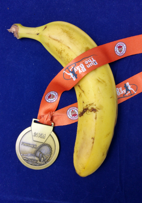 Finisher Medal and Banana.