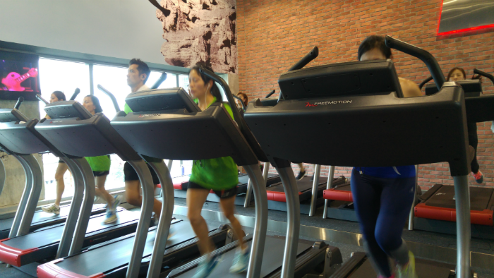 The RUN class takes place on the gym treadmills.