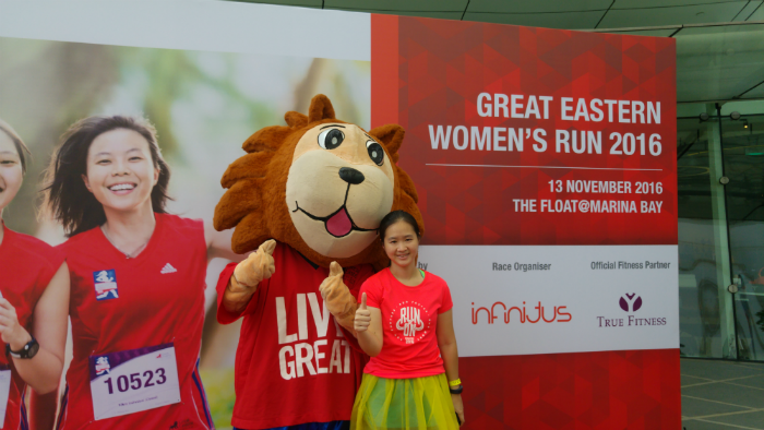 With the Great Eastern Lion mascot.