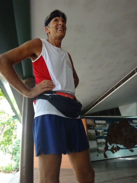 Success! Anton stands tall and proud after finishing his maiden Singapore marathon.
