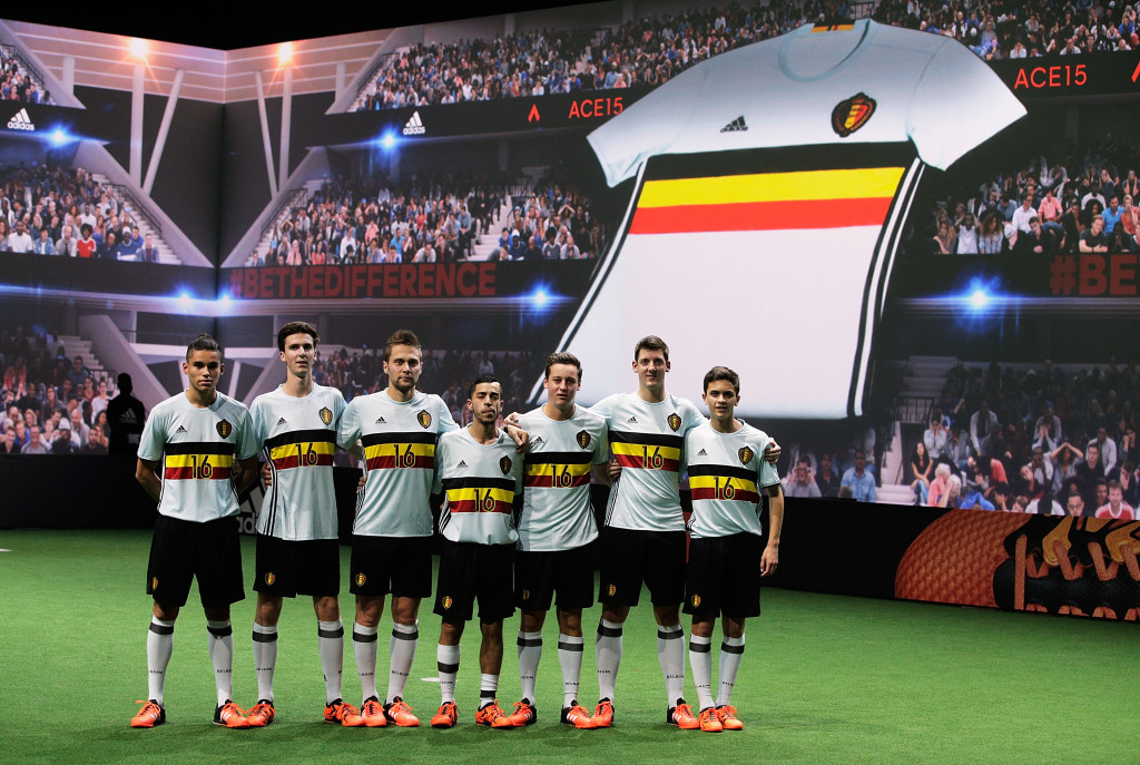 PARIS, FRANCE - NOVEMBER 12: Creators reveal the adidas Belgium away kit for the UEFA 2016 Euro Championship(TM) at the World's first digital stadium, The Future Arena on November 12, 2015 in Paris, France. (Photo by Adam Pretty/Getty Images)