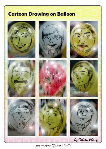 Calven also draws caricatures on balloons.
