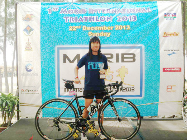 It's a second-placed finish for Ng at the  2013 MORIB Triathlon in Malaysia. (Photo from Sara Ng).