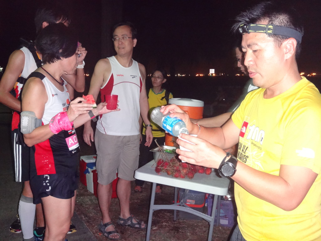 Running groups provided isotonic beverages and food to exhausted runners.