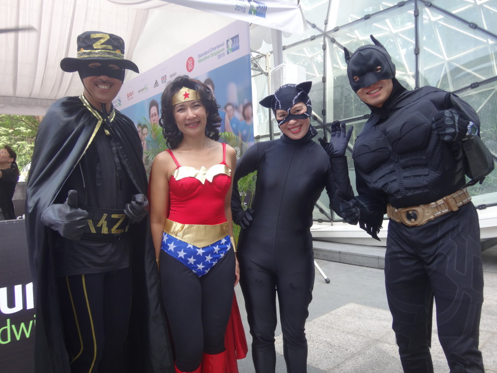 Batman, Wonder Woman, Catwoman and Zorro also run marathons as part of their superhero training.