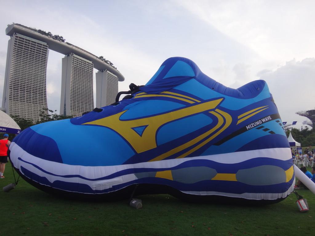 Giant Mizuno shoe.