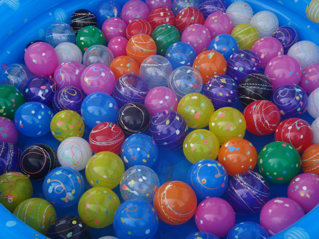 These colourful balloons were part of the carnival games.