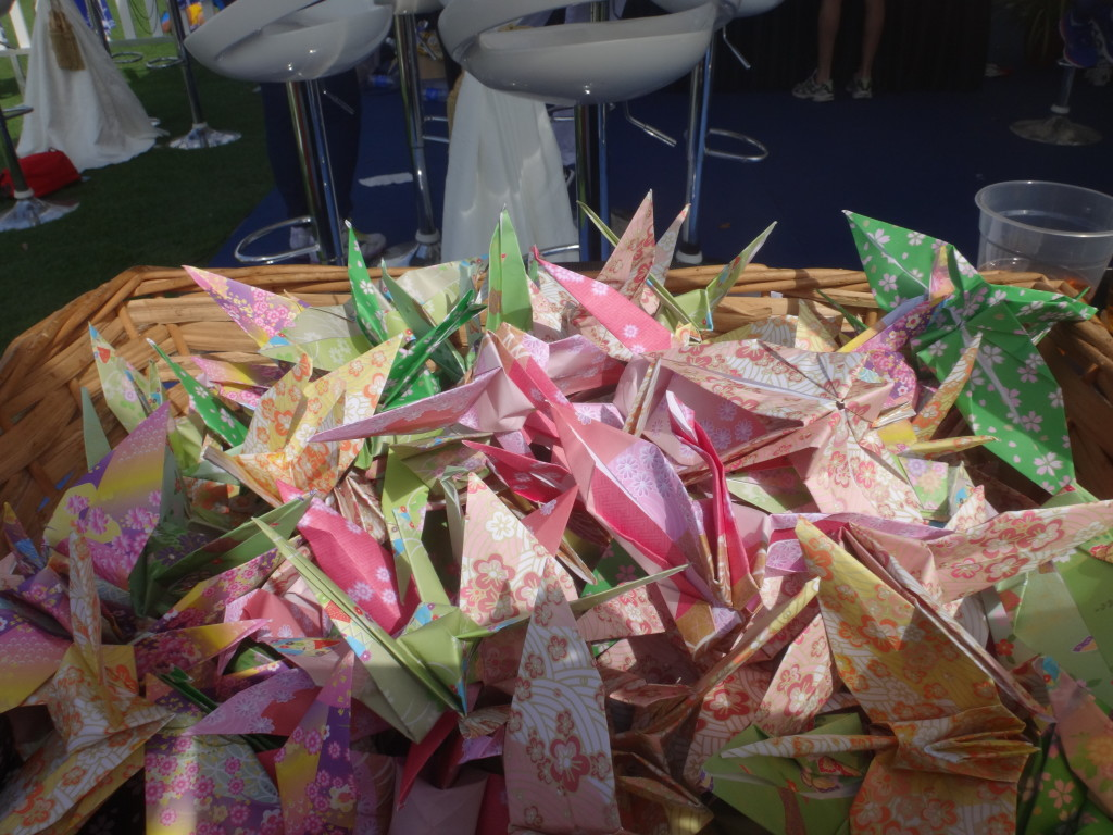 Japanese paper cranes.