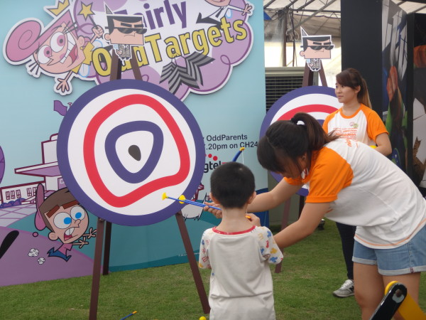 A kid practises his archery skills.