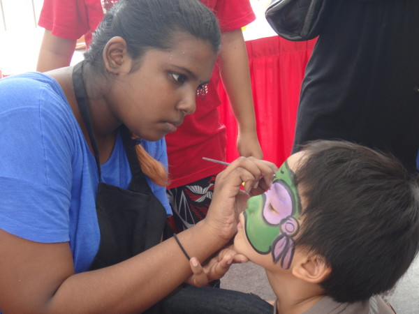 Face painting, TMNT style.