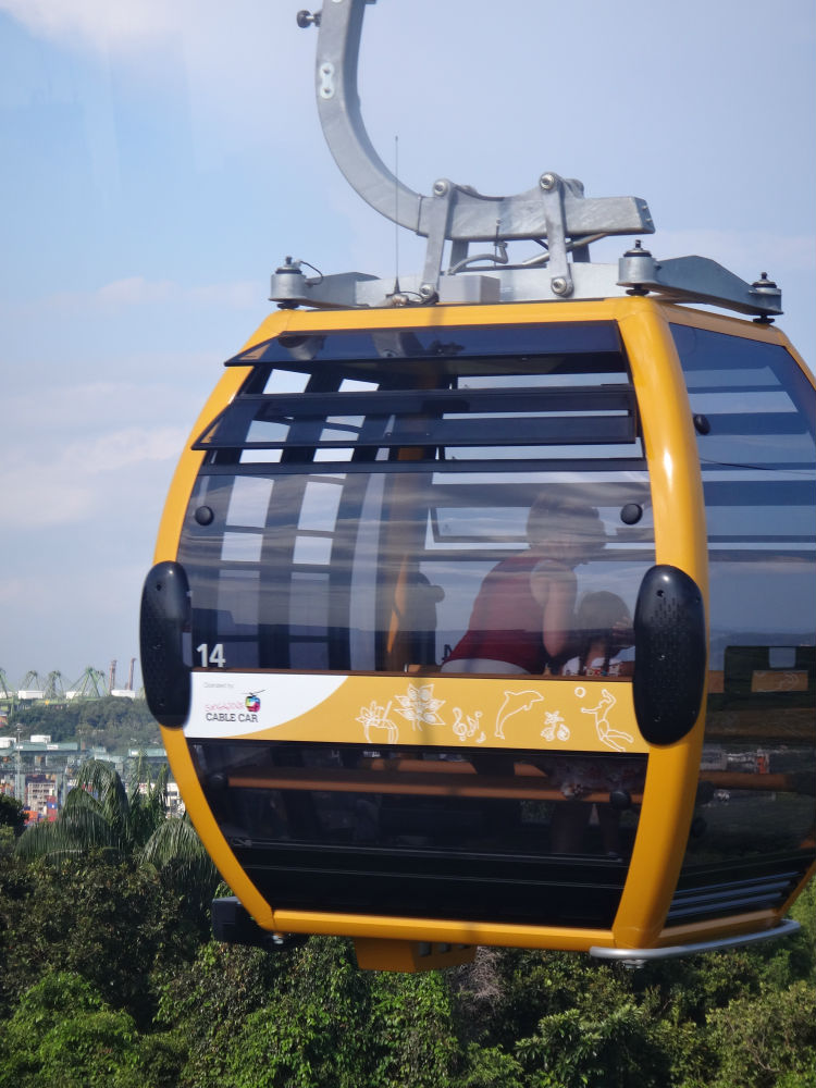A cable car cruising through the sky, taking its passengers with it on a sightseeing tour.