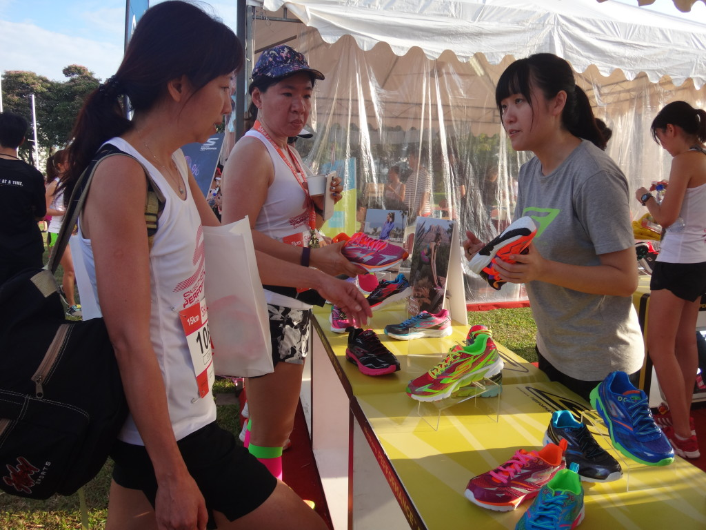 A runner checks out some new shoes for herself.