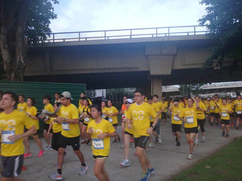 Runners are on their way towards the Gardens by the Bay.