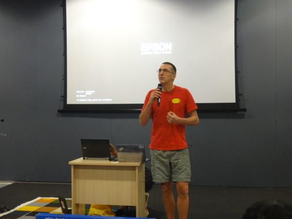 Corrado Giambalvo gives a talk.