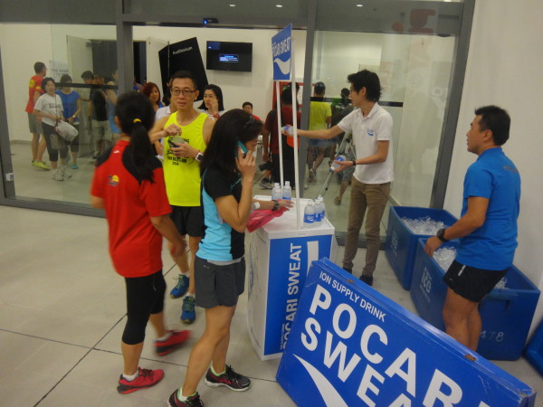 Pocari Sweat is available to cool down thirsty runners.