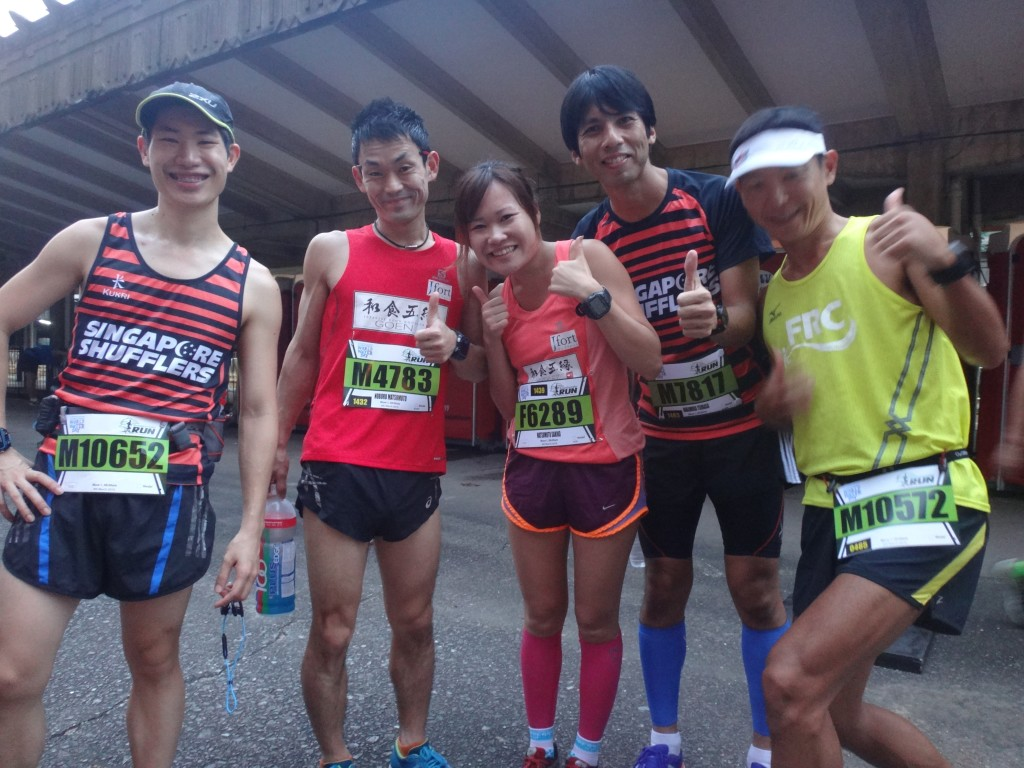 Runners pose for a photo before the race begins.