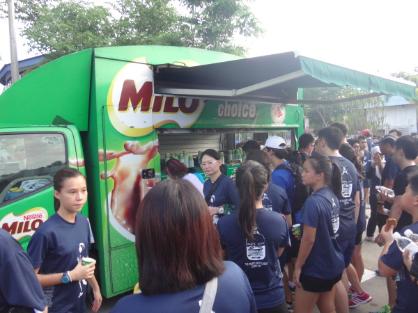 Delicious ice-cold milo awaits the finishers at the end point.
