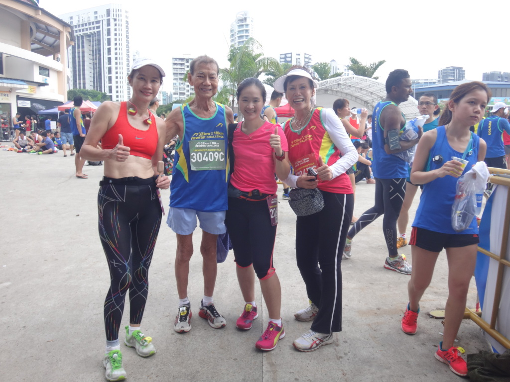 Bravo to Uncle Chan Meng Hui (second from left) for completing his 18km race!