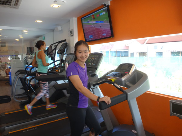 Trying out the treadmill at Altitude Gym.
