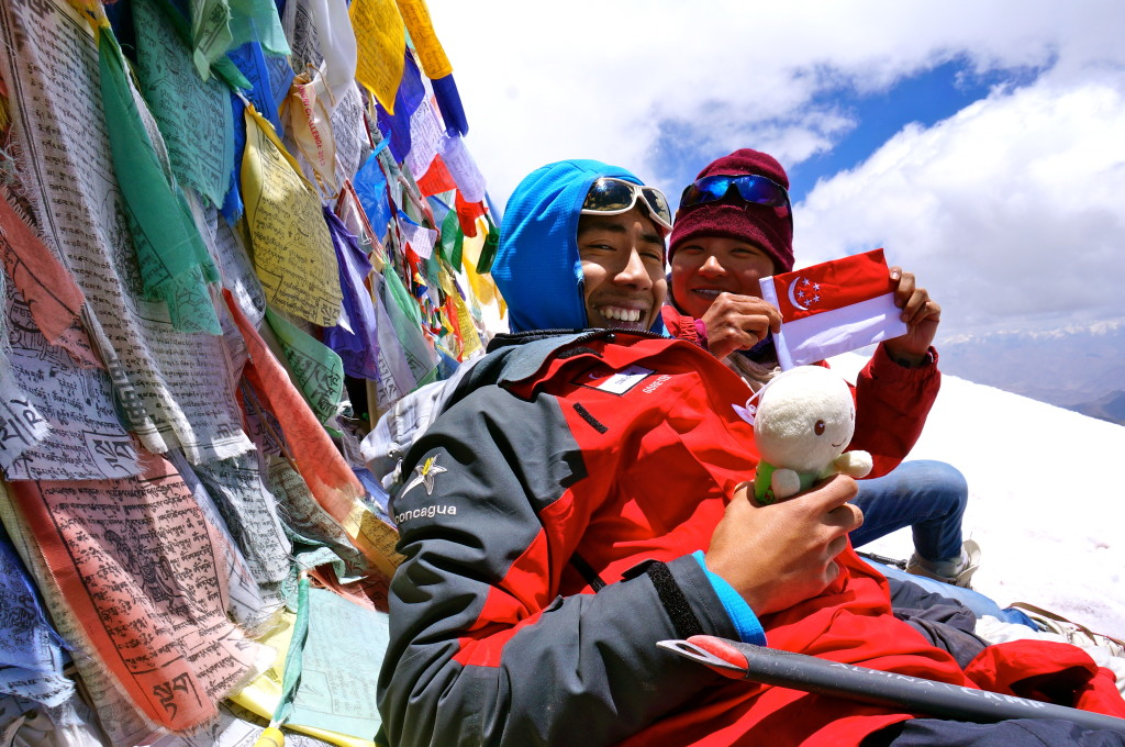 Jeremy at the summit of Stok Kangri (6153m) in 2014.