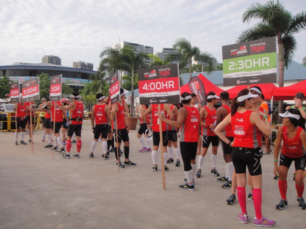 Marathon pacers prepare for the run.