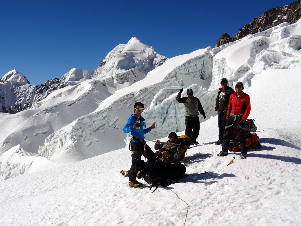 Jeremy's second expedition to a snow mountain - this is in Anchohuma (6427m) in Bolivia. It was a tough climb and Jeremy only made it to 5600m.
