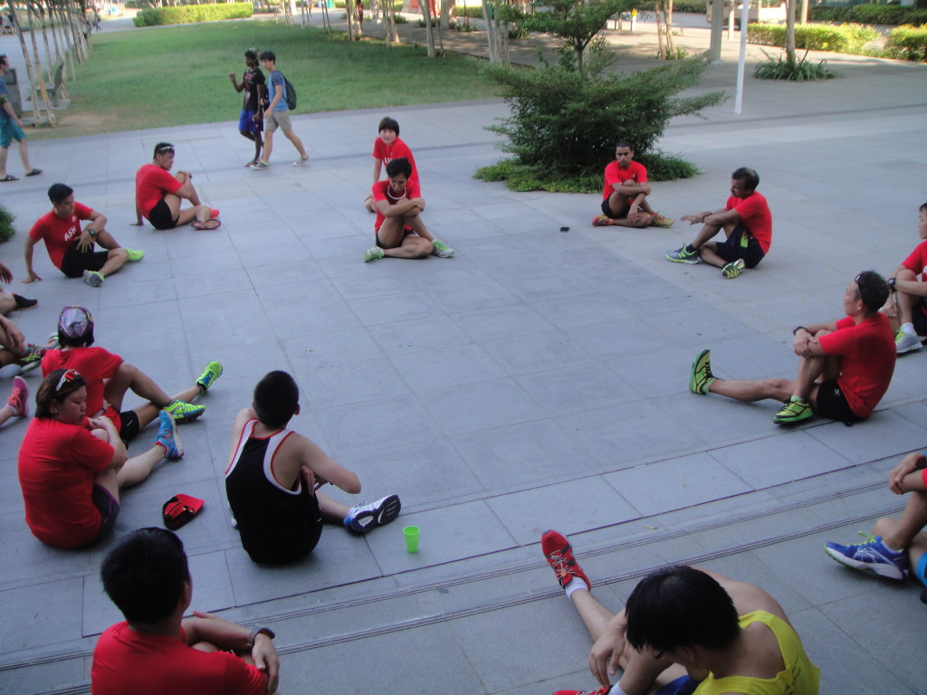 Young NTUC runners cooling down after the run.